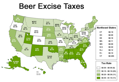 Beer Excise Tax Map