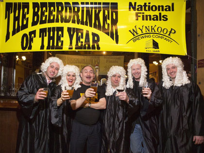 Warren Monteiro, Beerdrinker of the Year, with judges at Wynkoop Brewing